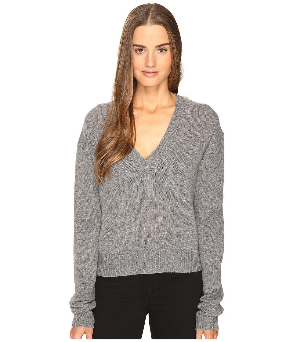 McQ - Lamv Basic V-Neck (Grey Melange) Women's Clothing