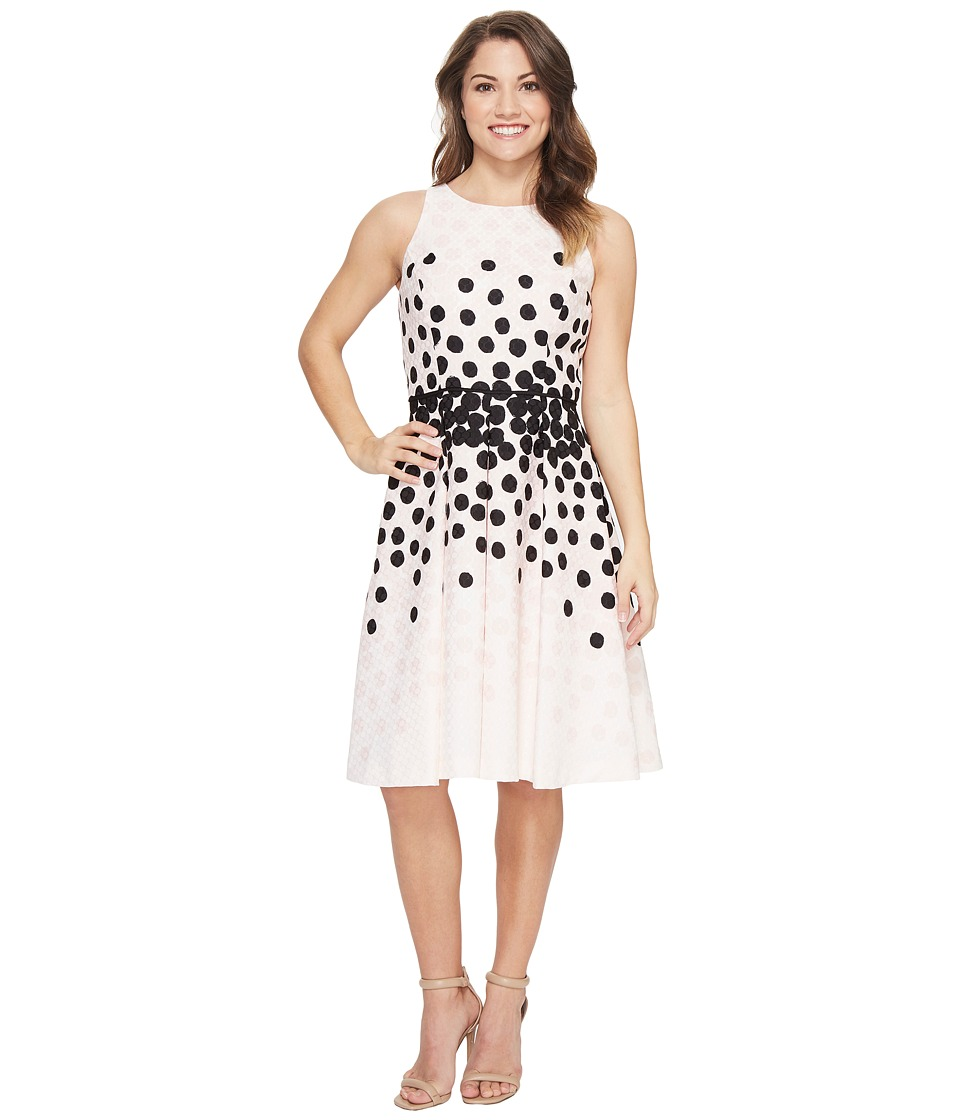 Tahari by ASL Petite - Petite Dot Print Fit-and-Flare Dress (Blush/Black) Women's Dress
