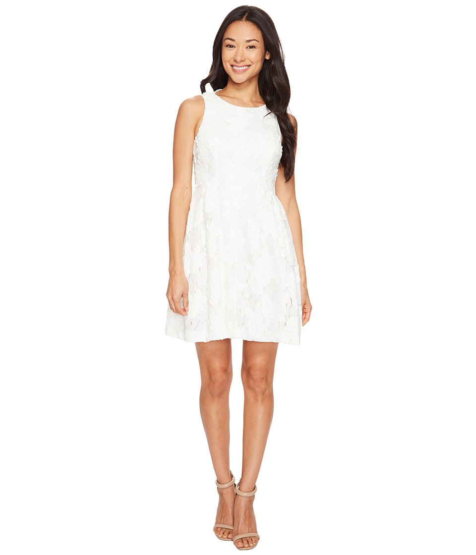 Tahari by ASL Petite - Petite Leather and Lace Textured A-Line Dress (White) Women's Dress