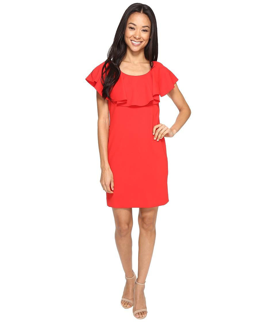 Tahari by ASL Petite Petite Crepe Flounce Bodice Sheath Dress (Scarlet) Women