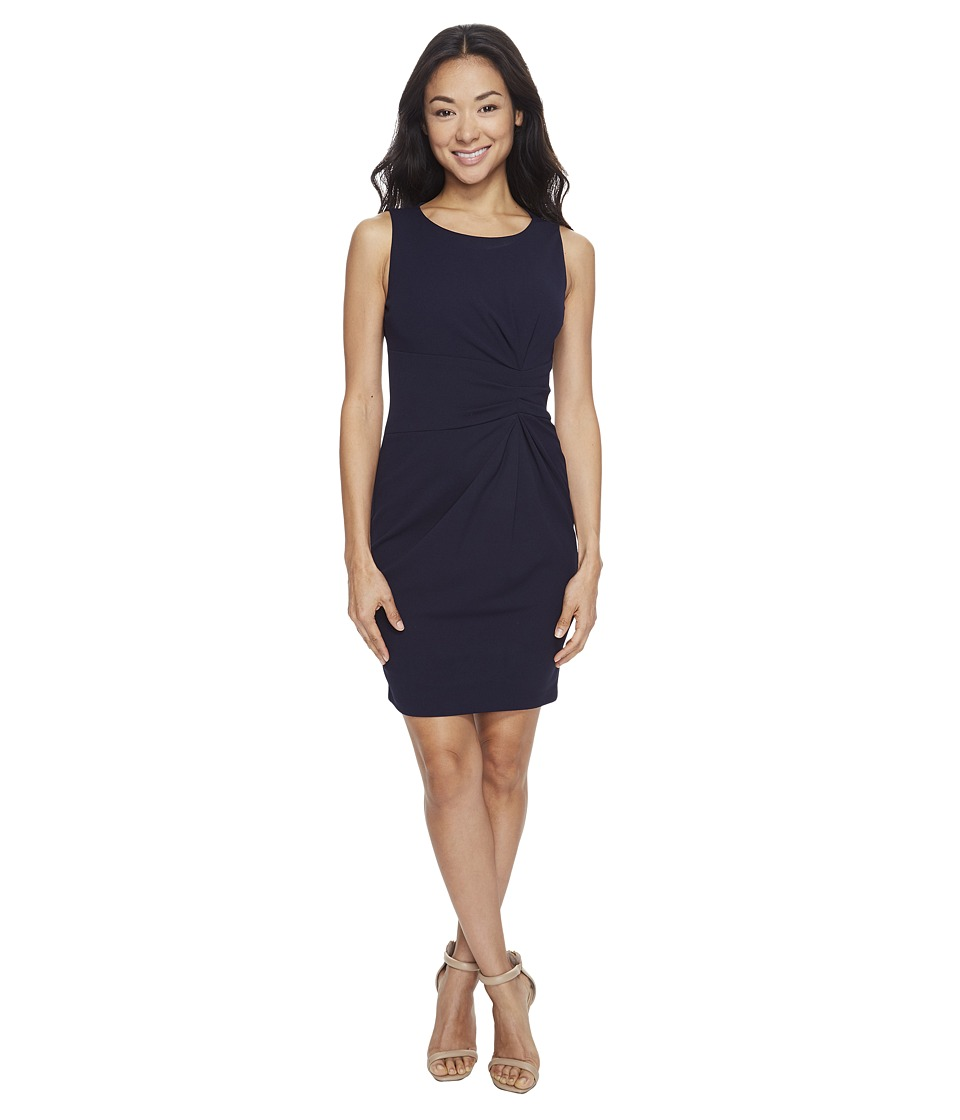 Tahari by ASL Petite - Petite Scuba Crepe Side Ruched Sheath Dress (Navy) Women's Dress