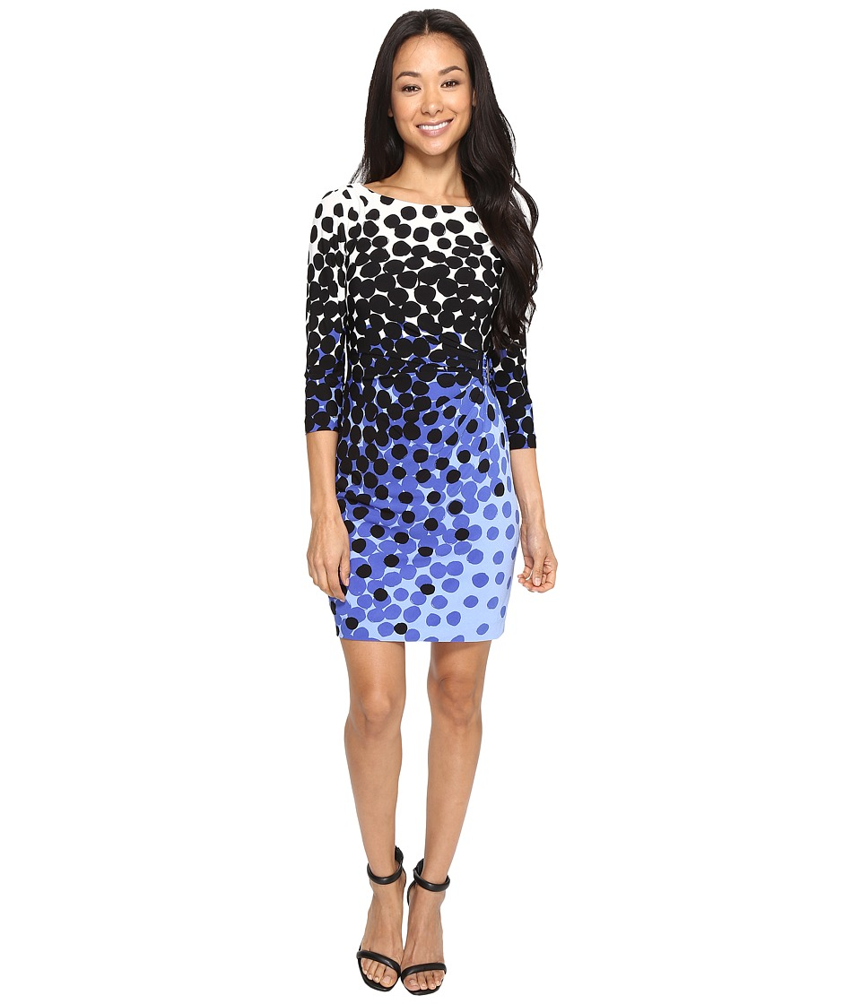 Tahari by ASL Petite - Petite Matte Jersey Dot Print Sheath Dress (Ivory/Black/Blue) Women's Dress