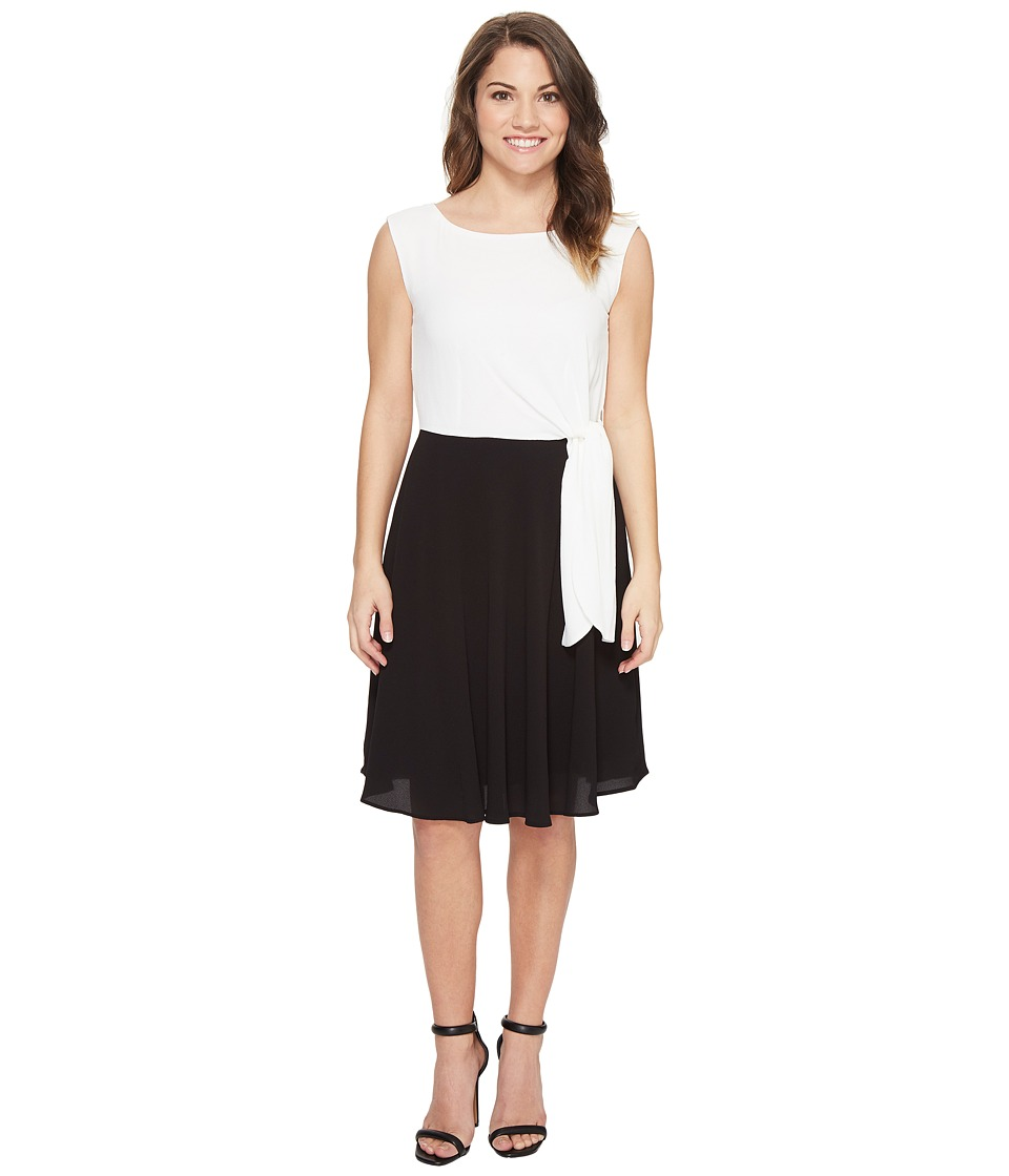 Tahari by ASL Petite Petite Textured Crepe Side Tie Dress (Black/White) Women