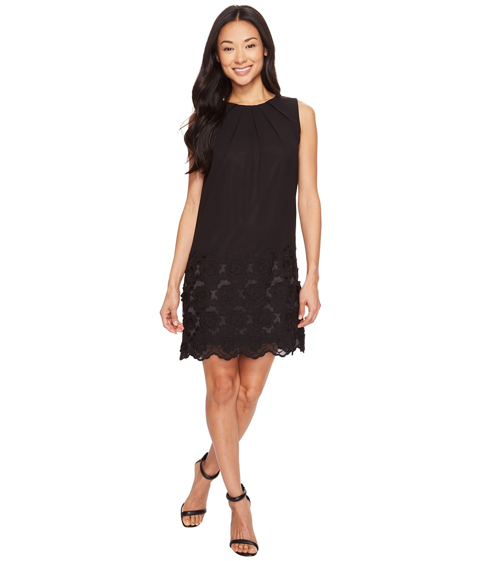 Tahari by ASL Petite - Petite Embroidered Floral Hem Chiffon Shift Dress (Black) Women's Dress