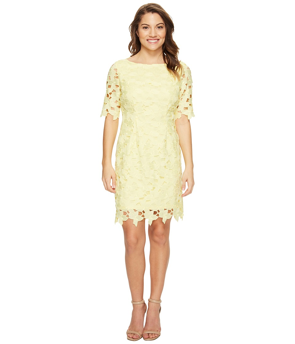 Tahari by ASL Petite - Petite Short Sleeve Chemical Lace Sheath Dress (Lemon Ice) Women's Dress