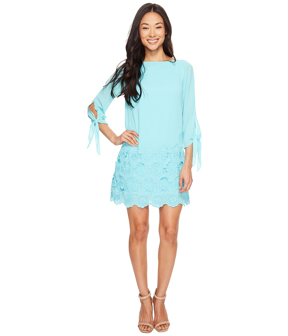 Tahari by ASL Petite - Petite Tie Sleeve Embroidered Hem Chiffon Shift Dress (Beach Glass Blue) Women's Dress