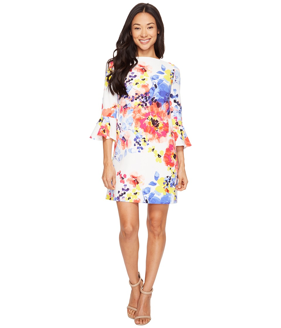 Tahari by ASL Petite - Petite Flounce Sleeve Floral Shift Dress (Ivory/Coral/Royal) Women's Dress