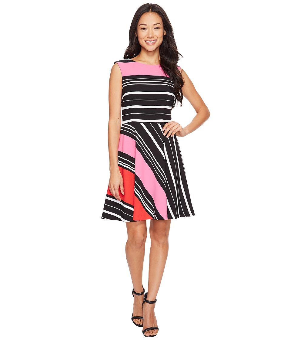 Tahari by ASL Petite Crepe Multi Stripe A-Line Dress (Black/Magenta/White) Women