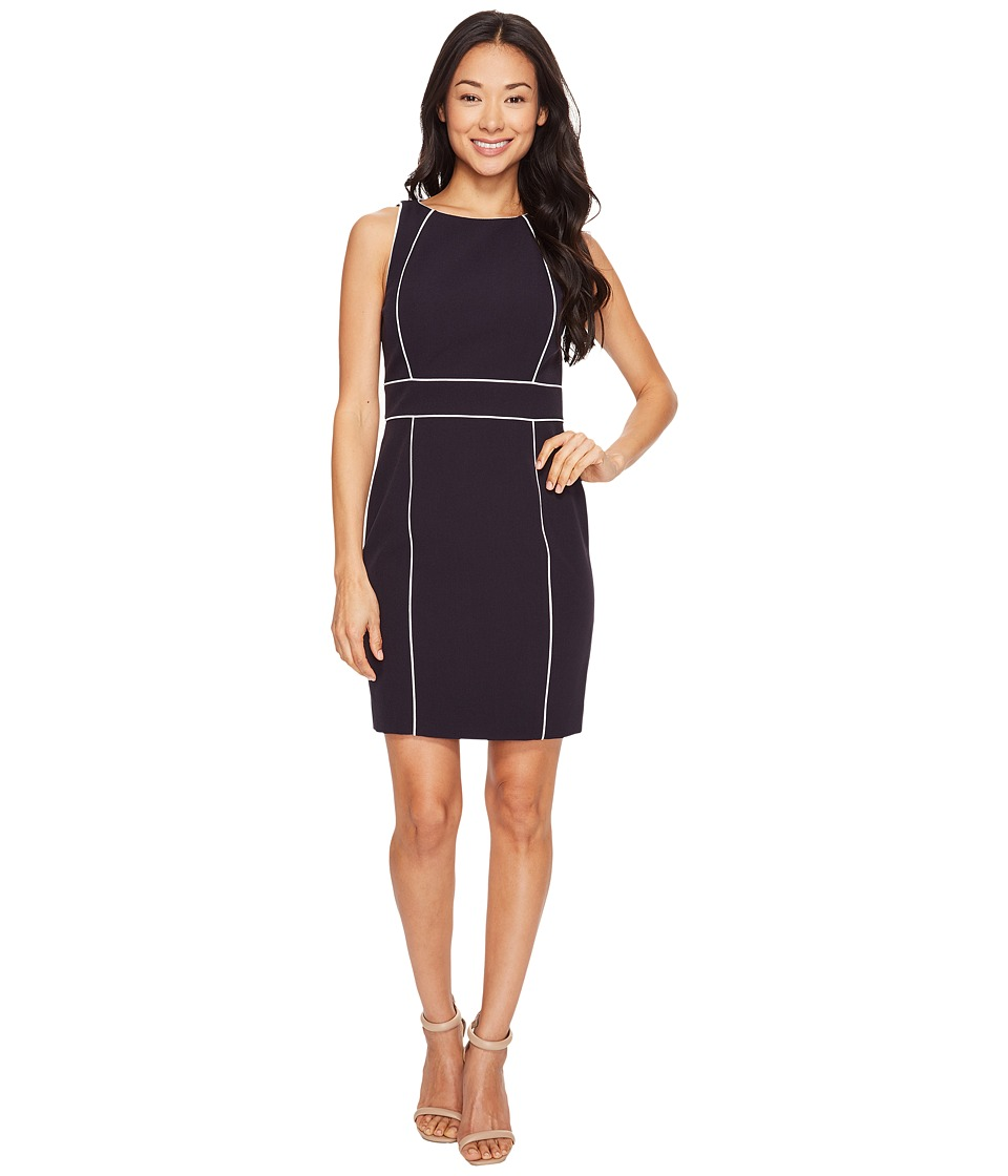 Tahari by ASL Petite - Petite Contrast Piping Sheath Dress (Navy/White) Women's Dress
