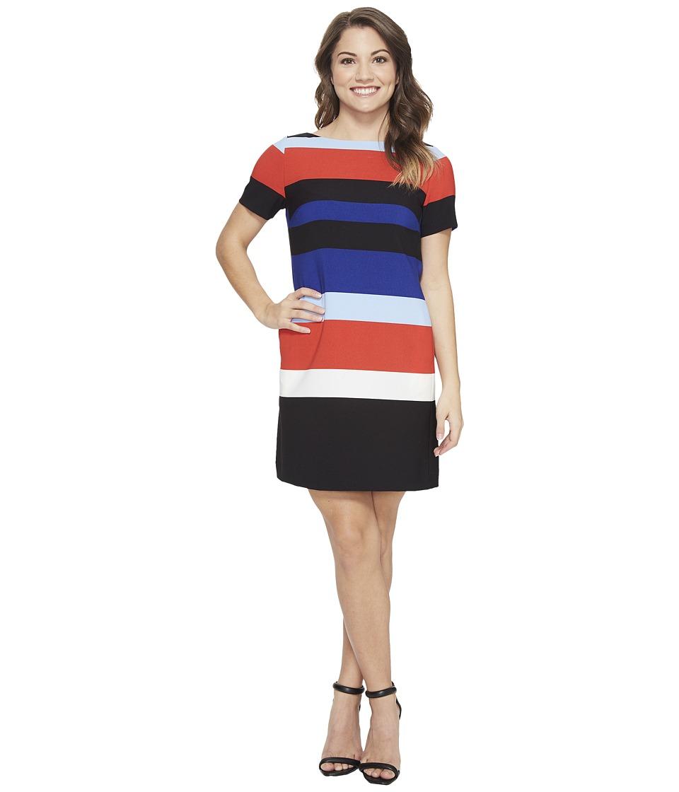 Tahari by ASL Petite Block Stripe Shift Dress (Red/Cobalt/Black) Women