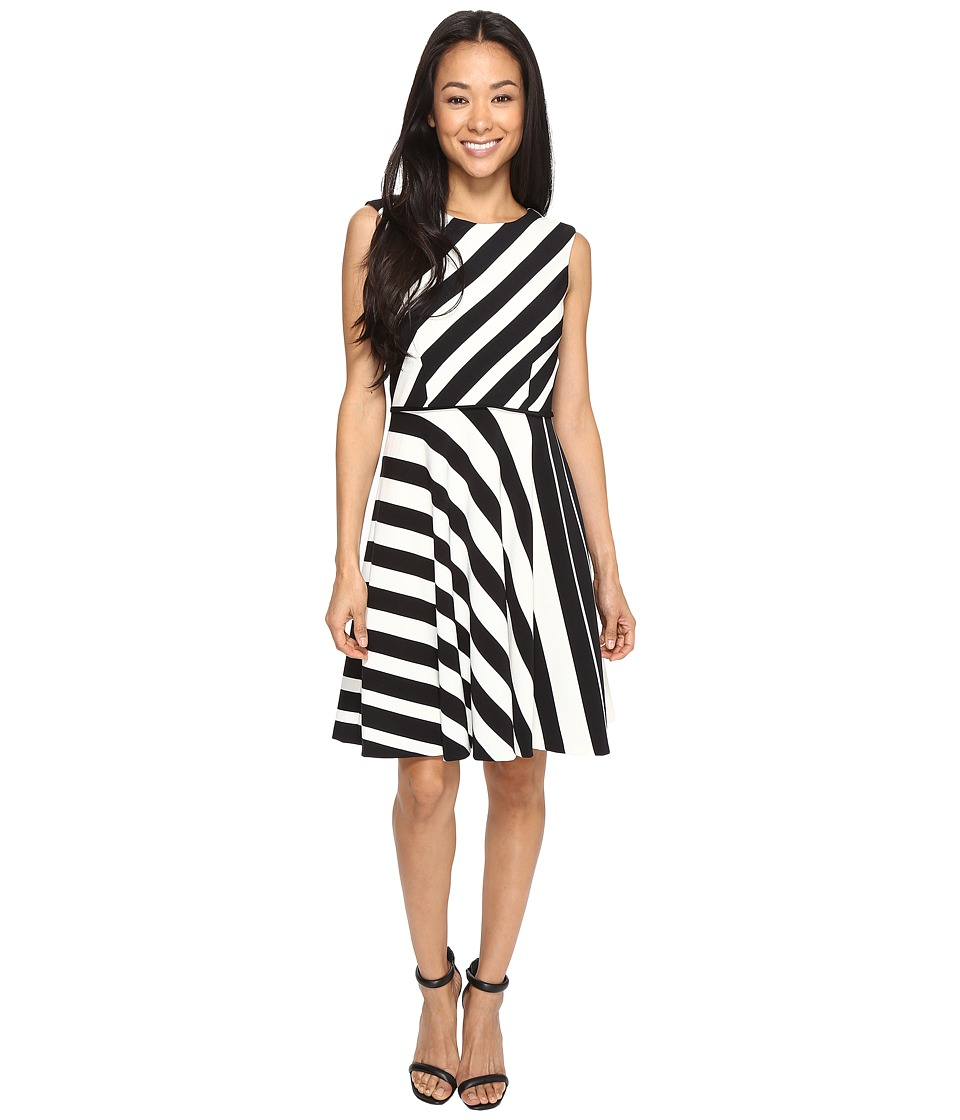 Tahari by ASL Petite - Petite Crepe Multi Stripe A-Line Dress (Black/Ivory) Women's Dress