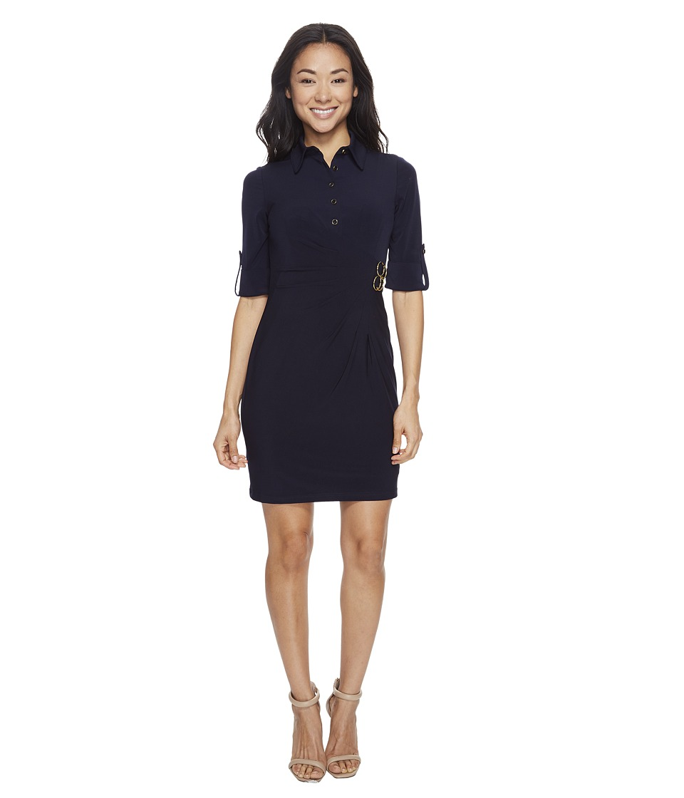 Tahari by ASL Petite - Petite Jersey Shirtdress (Navy) Women's Dress