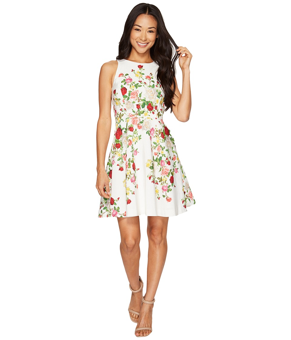 Tahari by ASL Petite Petite Floral Faille Fit-and-Flare Dress (White/Red/Lemon) Women