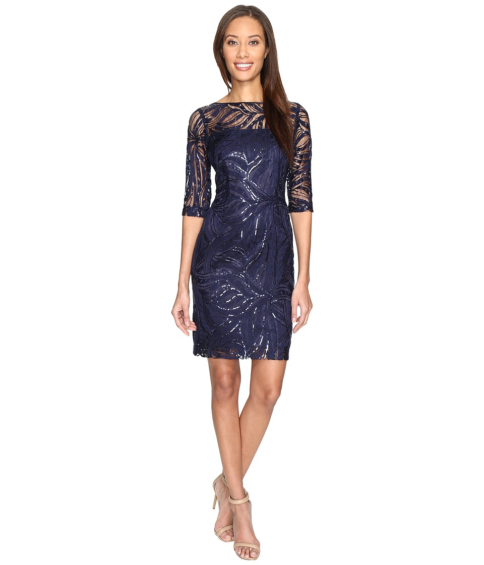 Tahari by ASL - Stretch Sequin Lace Sheath Dress (Navy) Women's Dress