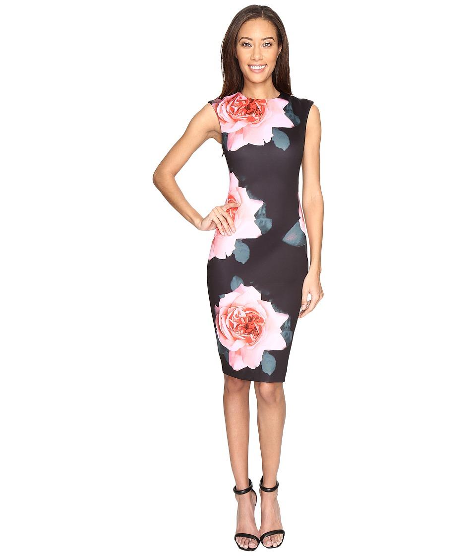 Tahari by ASL - Exploded Floral Scuba Sheath Dress (Black/Rose/Blush) Women's Dress