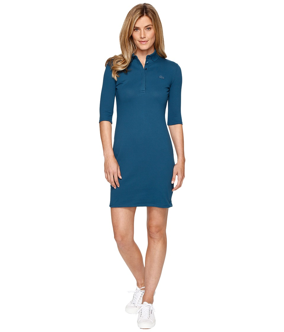 Lacoste - Half Sleeve Pique Polo Dress (Legion Blue) Women's Dress