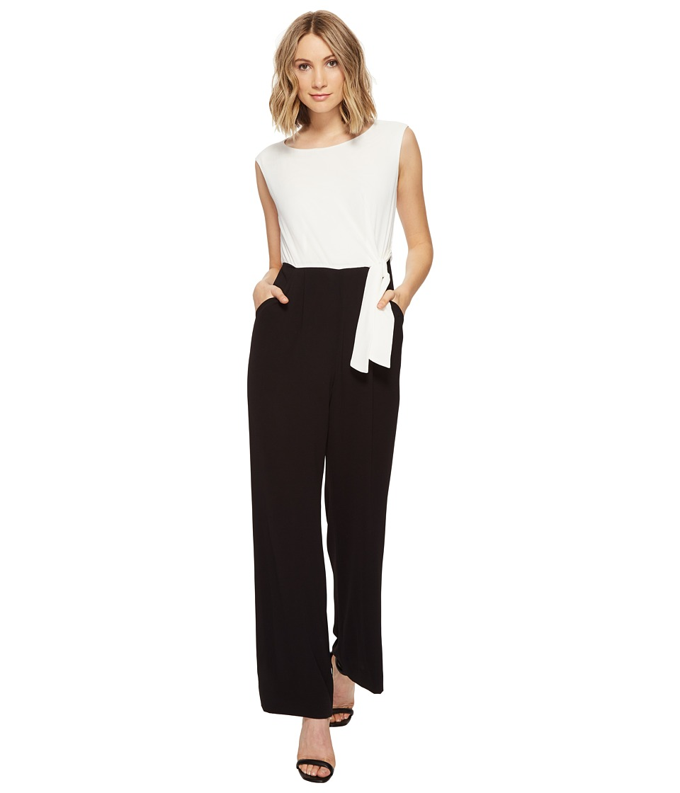 Tahari by ASL - Pebble Crepe Color Block Jumpsuit (White/Black) Women's Jumpsuit & Rompers One Piece