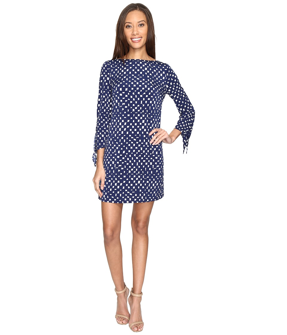 Tahari by ASL - Jersey Dot Print Tie-Sleeve Shift Dress (Navy/White) Women's Dress