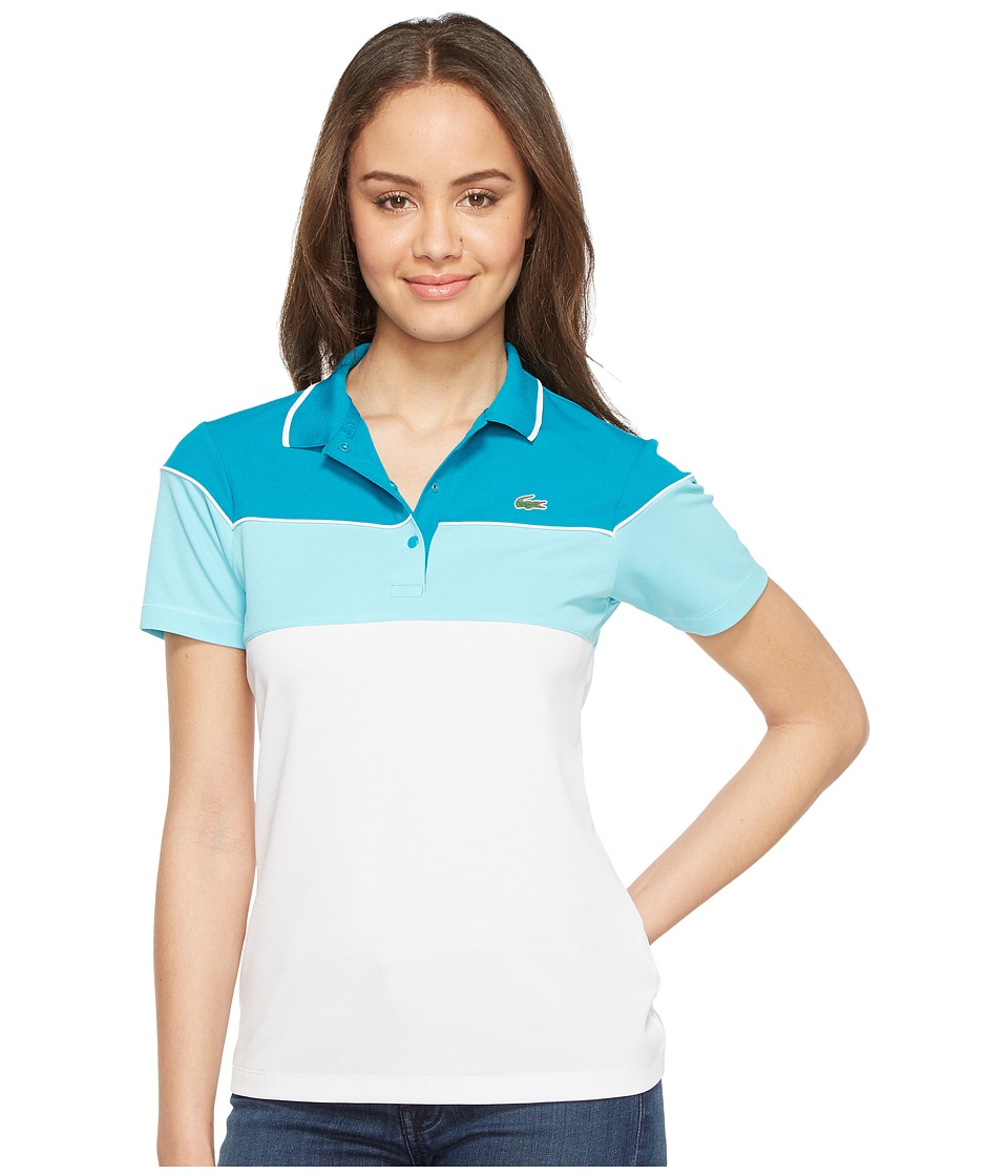 Lacoste - Short Sleeve Color Block Waffle Stitch Polo (Oceanie/White/Haiti Blue) Women's Clothing