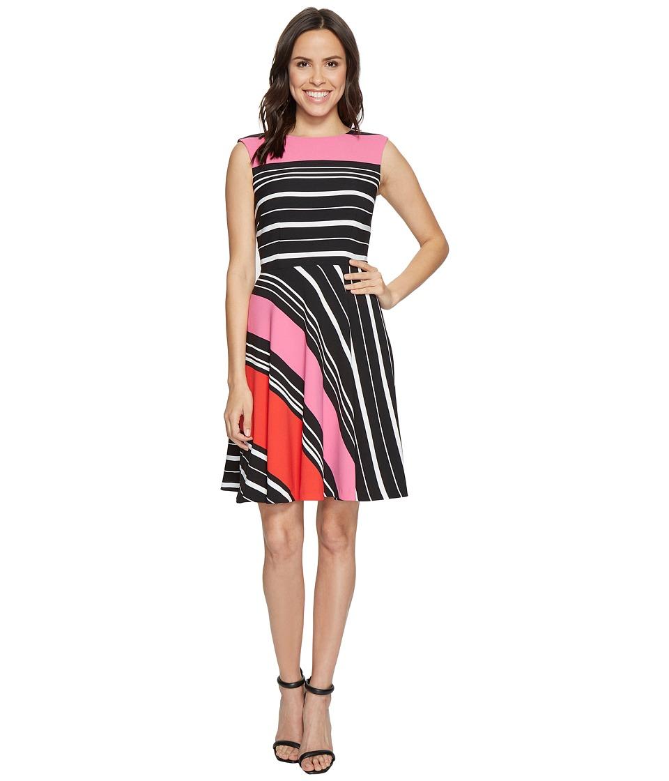 Tahari by ASL Crepe Multi-Stripe A-Line Dress (Black/Magenta/White) Women