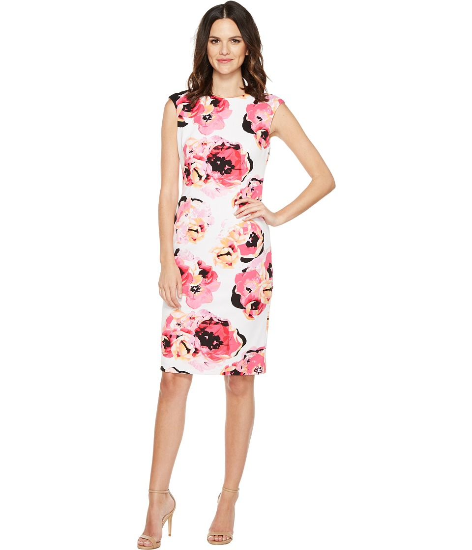Tahari by ASL - Pique Floral Sheath Dress (White/Magenta/Black) Women's Dress