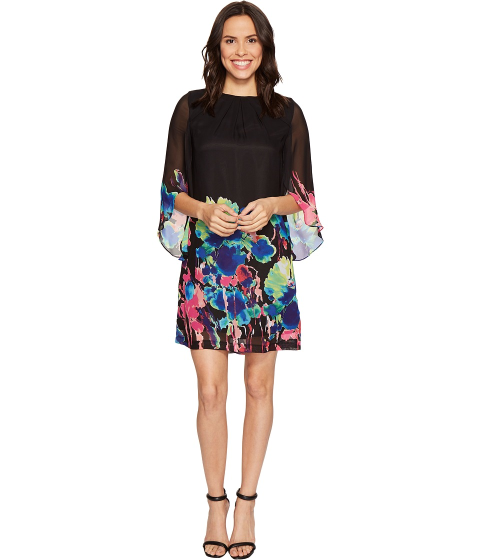Tahari by ASL - Tulip Sleeve Floral Print Chiffon Shift Dress (Black/Lime/Magenta) Women's Dress