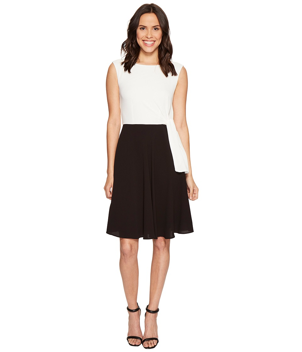 Tahari by ASL - Textured Crepe Tie Side A-Line Dress (White/Black) Women's Dress