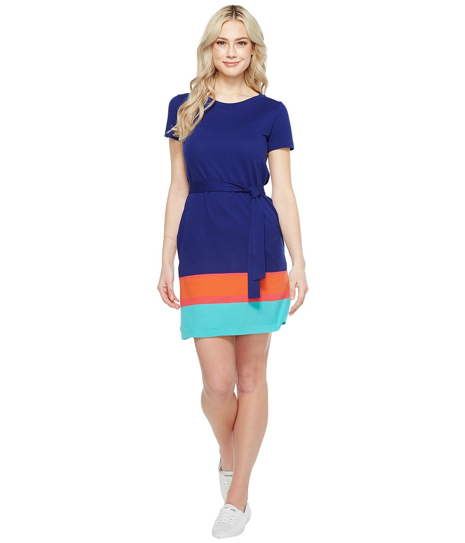 Lacoste - Short Sleeve Pique Color Block T-Shirt Dress (Ocean/Sirop Pink Pumpkin Bermuda 08H) Women's Dress