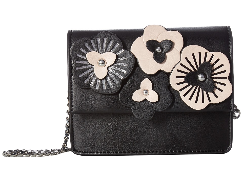 Ivanka Trump - Mara Box Crossbody (Black Floral Applique) Cross Body Handbags
