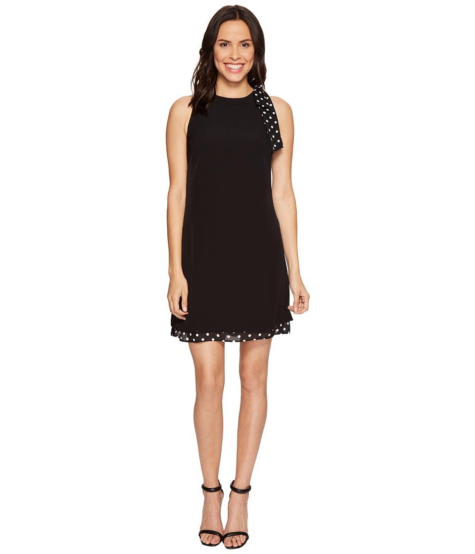 Tahari by ASL - Shift Dress with Polka Dot Detail (Black/Ivory) Women's Dress