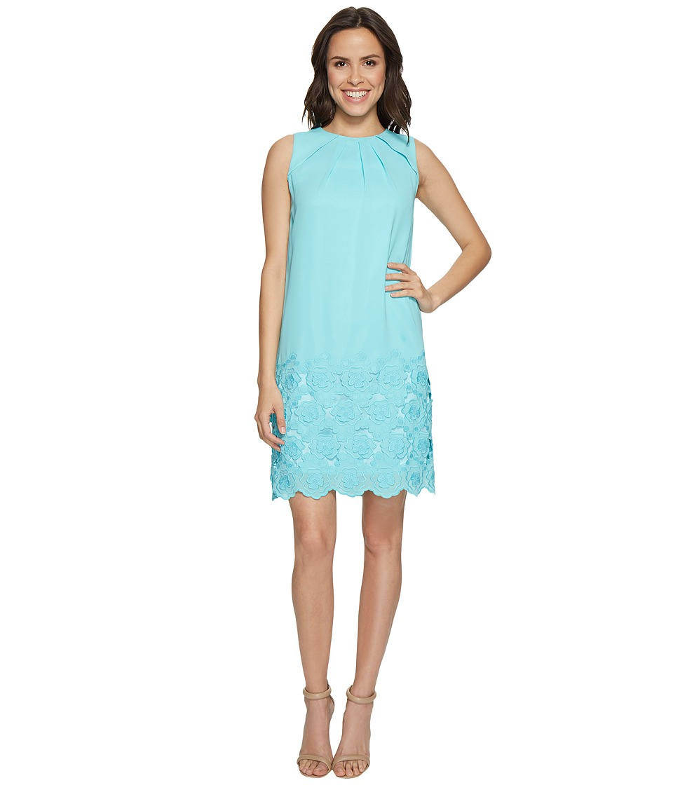 Tahari by ASL - Floral Embroidered Hem Shift Dress (Beach Glass Blue) Women's Dress