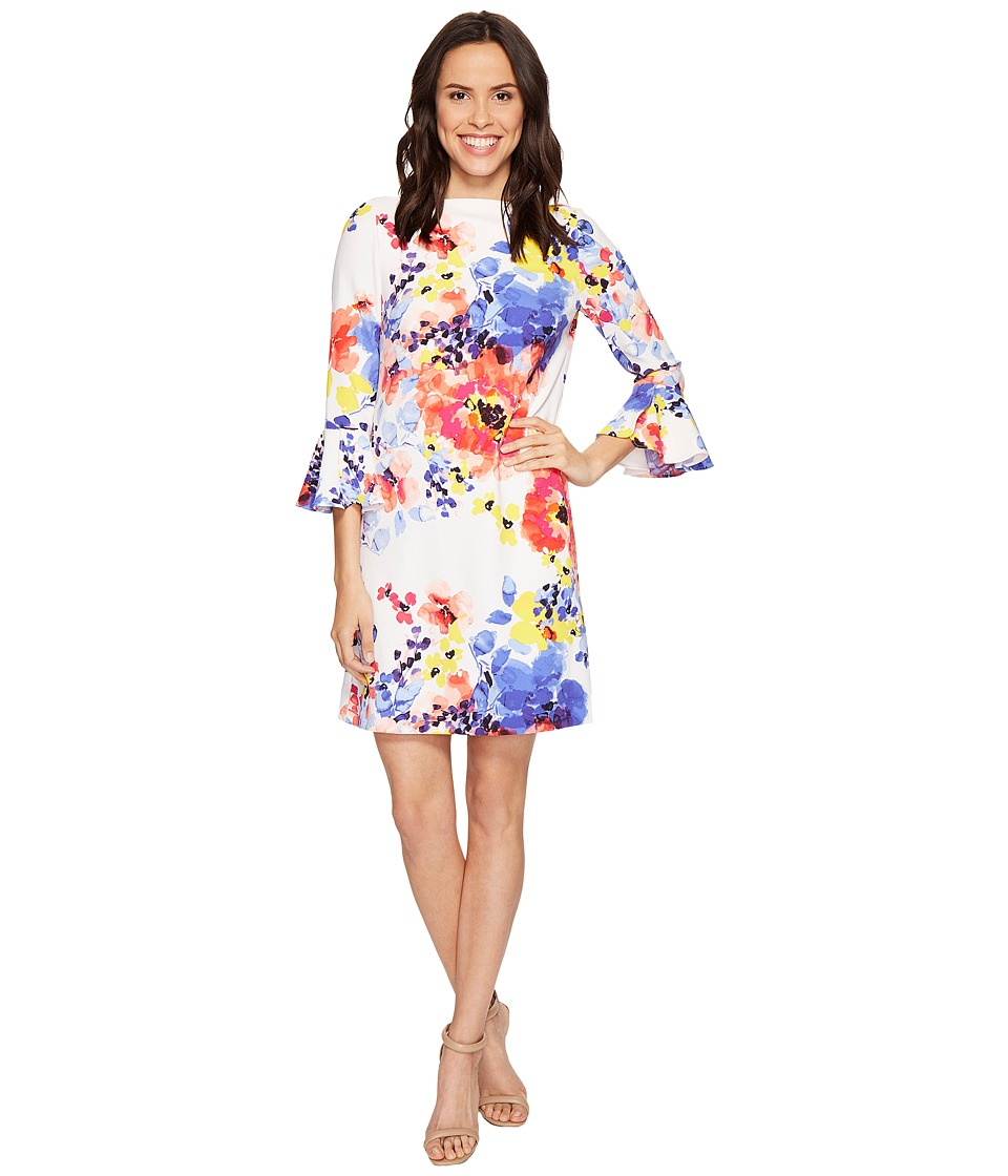 Tahari by ASL - Bell Sleeve Floral Shift Dress (Ivory/Coral/Royal) Women's Dress