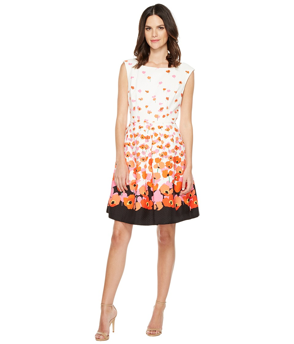 Tahari by ASL - Floral Jacquard Fit Flare Dress (White/Tomato/Black) Women's Dress