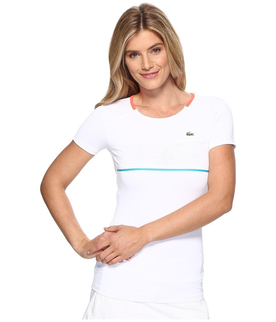Lacoste - SPORT Australian Open Tennis T-Shirt (White/Fluo Energy/Oceanie) Women's T Shirt