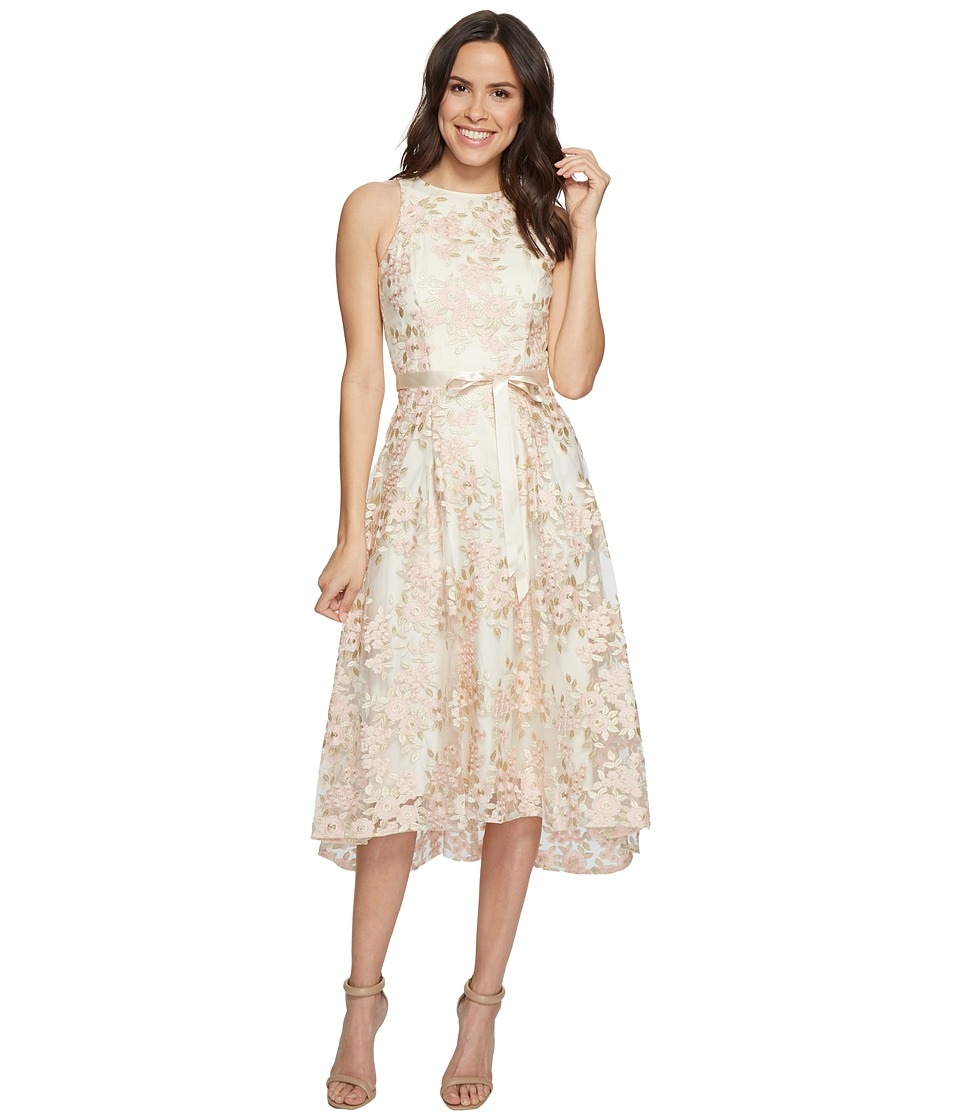 Tahari by ASL - Tea-Length Floral A-Line Dress (Champagne/Petal) Women's Dress