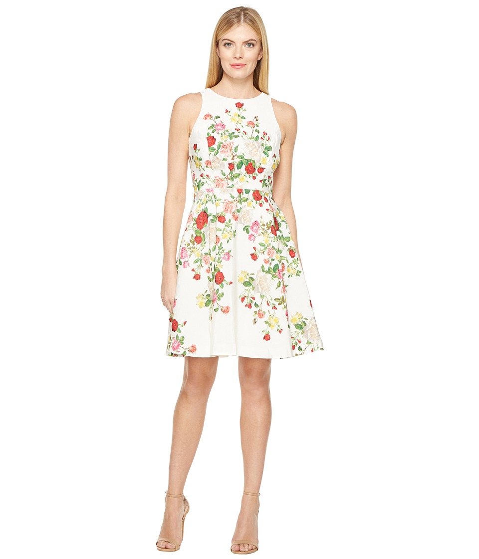 Tahari by ASL - Faille Floral Fit Flare Dress (White/Red/Lemon) Women's Dress