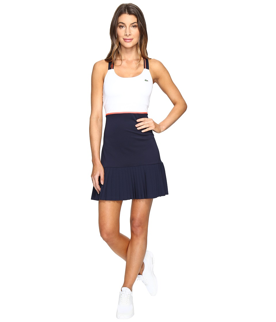 Lacoste - SPORT Australian Open Tennis Dress (White/Navy Blue/Fluo Energy) Women's Dress