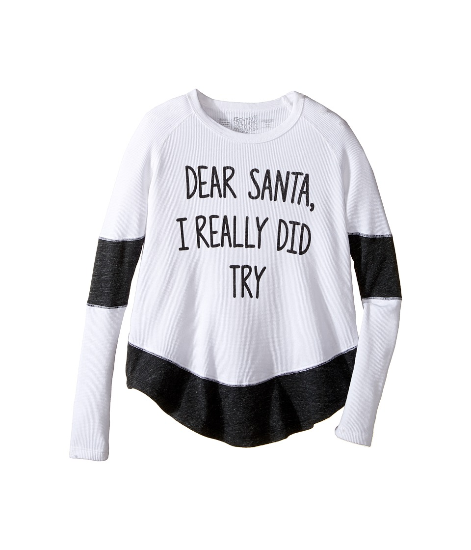 The Original Retro Brand Kids - Dear Santa I Really Did Try Contrast Thermal (Big Kids) (White/Streaky Black) Girl's Clothing