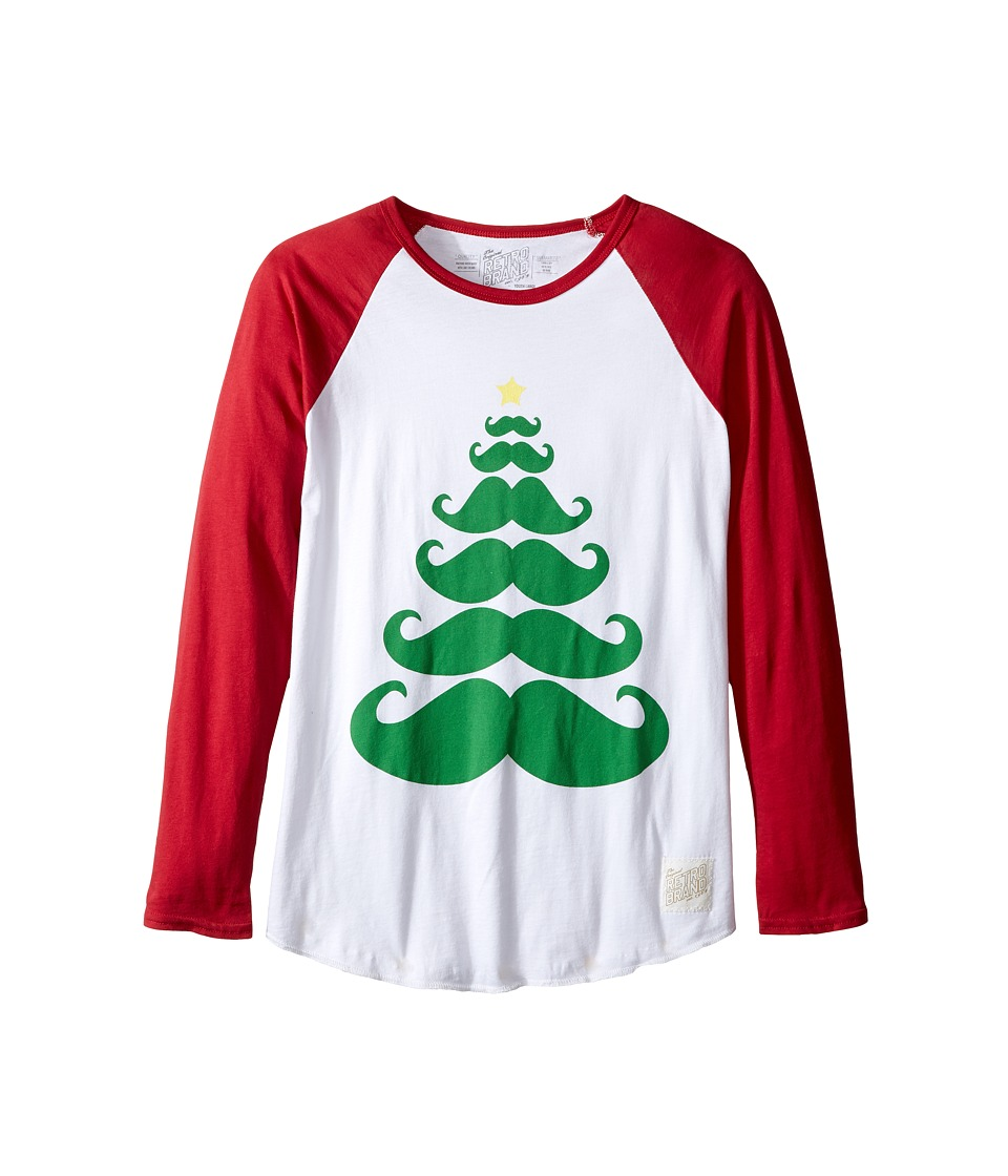 The Original Retro Brand Kids - Long Sleeve Raglan Mustache X-Mas Tee (Big Kids) (White/Dark Red) Boy's T Shirt