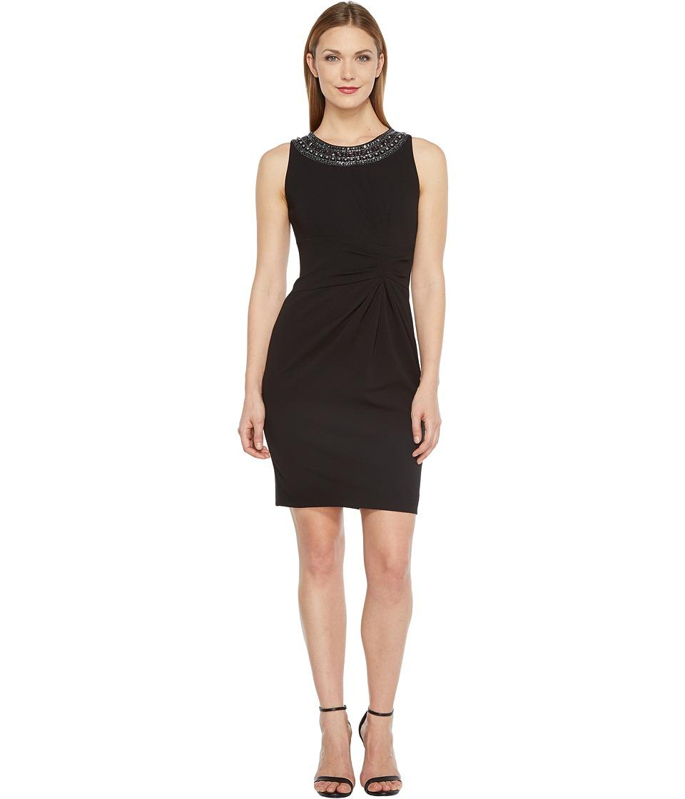 Tahari by ASL - Scuba Crepe Beaded Neck Sheath Dress (Black) Women's Dress