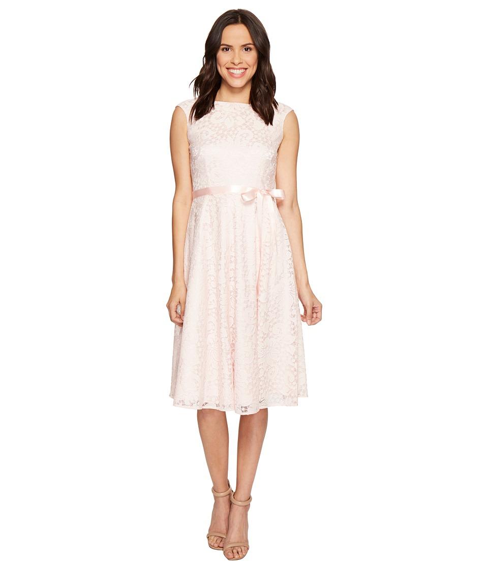 Tahari by ASL - Tea-Length Lace A-Line Dress (Blush) Women's Dress