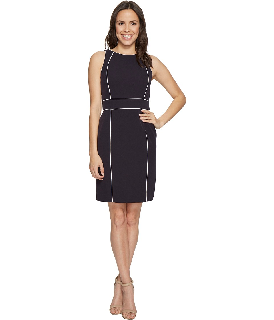 Tahari by ASL - Sheath Dress with Contrast Piping (Navy/White) Women's Dress