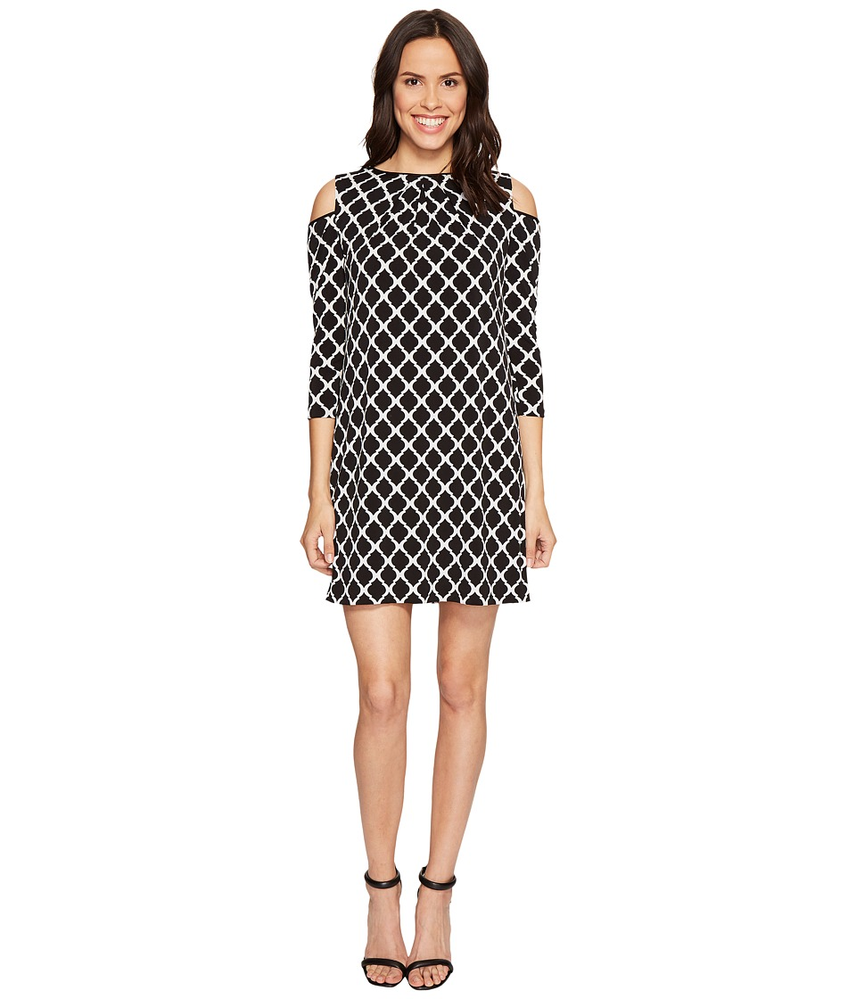 Tahari by ASL - Cold Shoulder Trefoil Jersey Sheath Dress (Black/White) Women's Dress