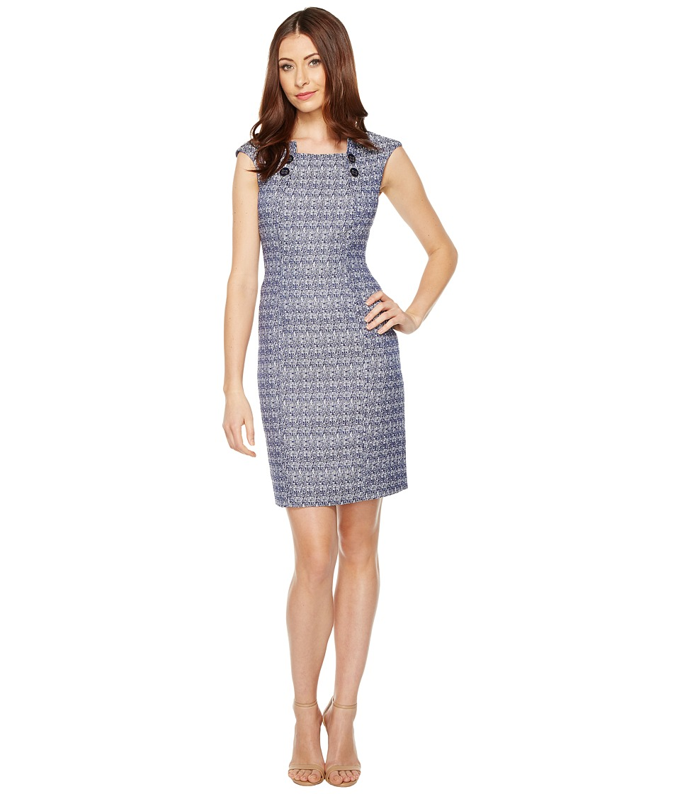 Tahari by ASL - Tweed Sheath Dress with Buttons (Navy/White) Women's Dress