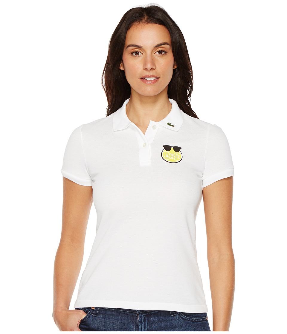 Lacoste - Yazbukey Short Sleeve Solid Polo (White) Women's Clothing