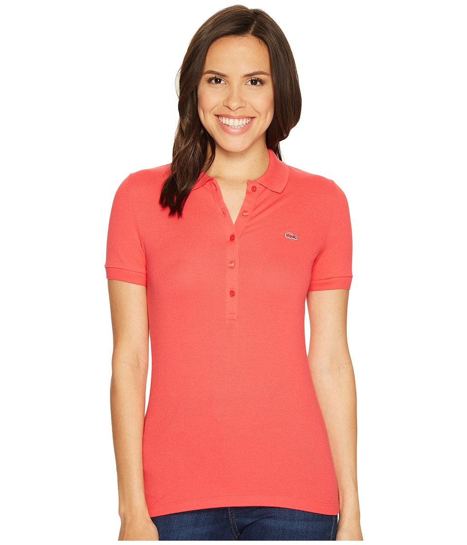 Lacoste - Short Sleeve Slim Fit Stretch Pique Polo Shirt (Sirop Pink) Women's Short Sleeve Knit