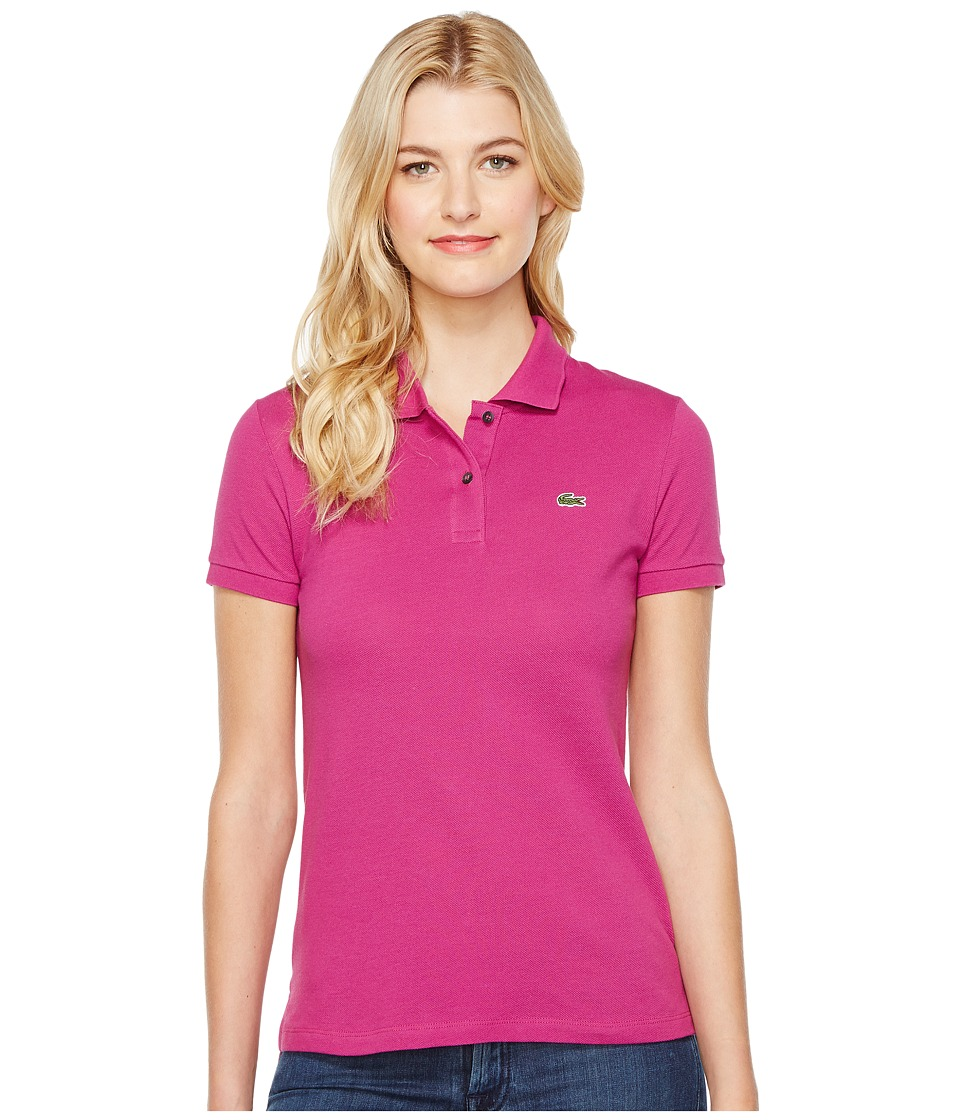 Lacoste - Short Sleeve Classic Fit Pique Polo Shirt (Purple) Women's Short Sleeve Knit