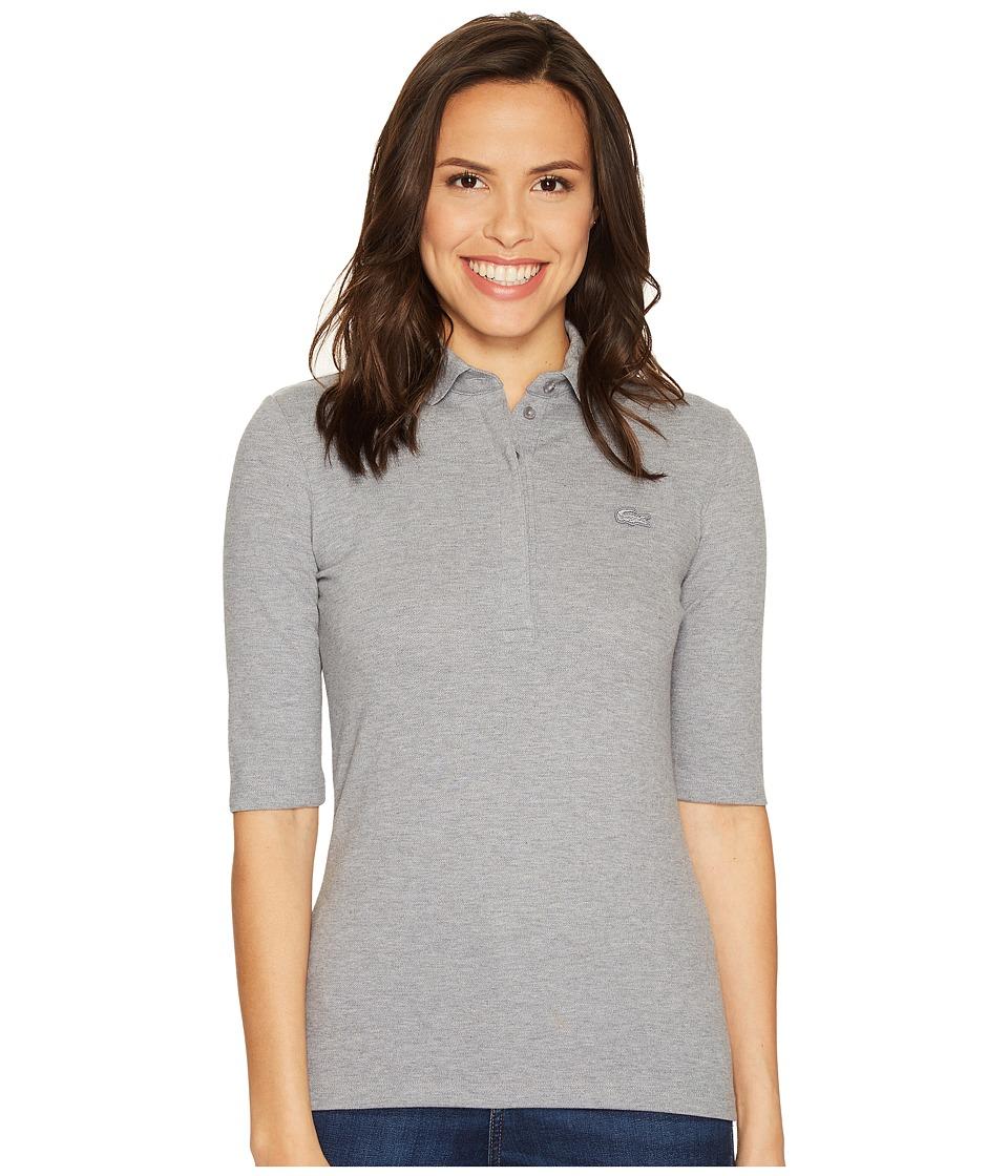 Lacoste - Half Sleeve Slim Fit Stretch Pique Polo Shirt (Chine Platinum) Women's Short Sleeve Knit