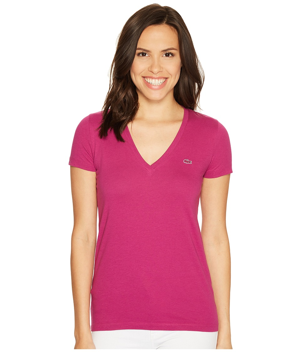 Lacoste - Short Sleeve Cotton Jersey V-Neck Tee Shirt (Purple) Women's Short Sleeve Pullover