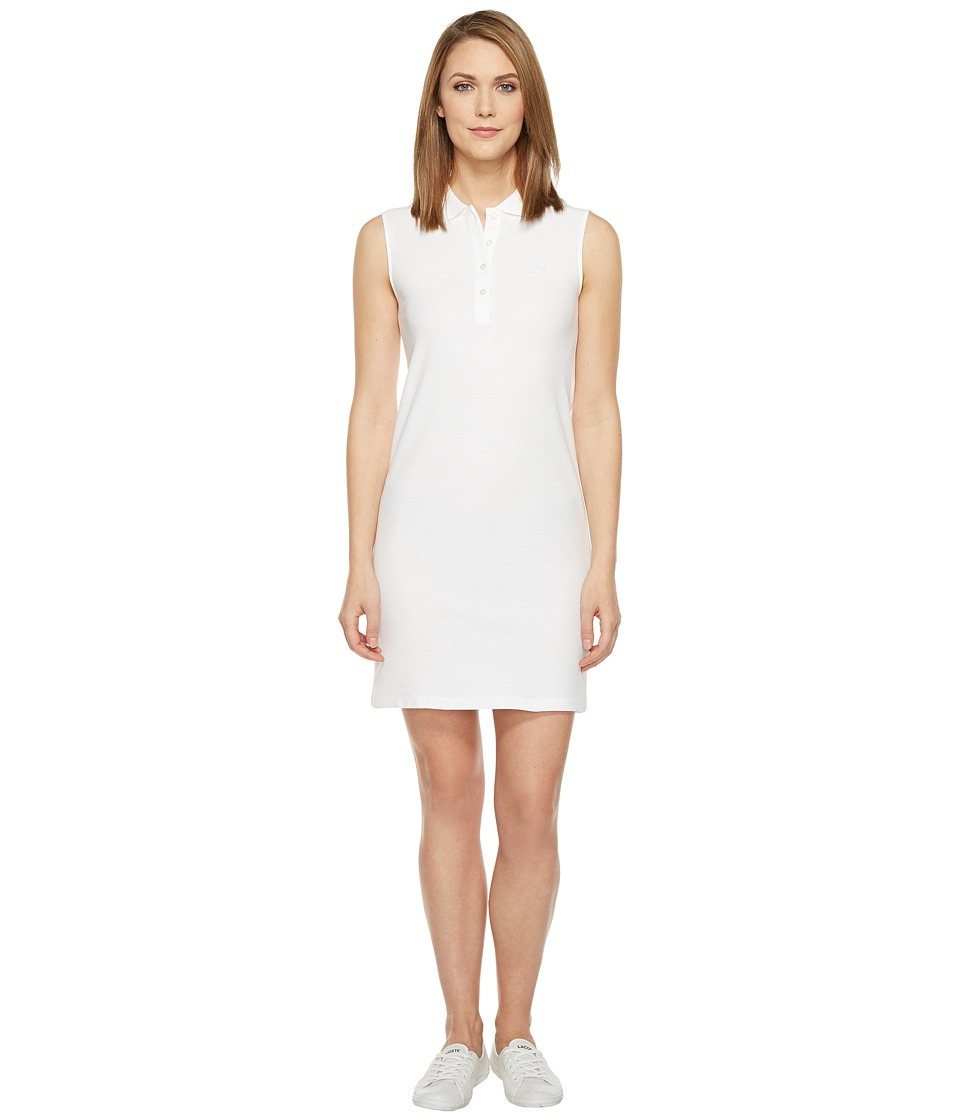 Lacoste - Sleeveless Micro Pique Polo Dress (White) Women's Dress